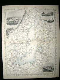 Baltic Sea: 1858 Antique Map. Tallis Rapkin